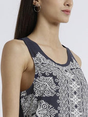 MIWAY WOMEN'S POLYKNIT NAVY PRINTED CASUAL TOP