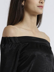 MIWAY WOMEN'S POLY SATIN BLACK SOLID CASUAL TOP