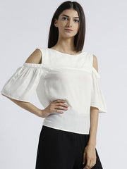 Miway Women's Rayon Off White Solid Casual Top - Miway Fashion
