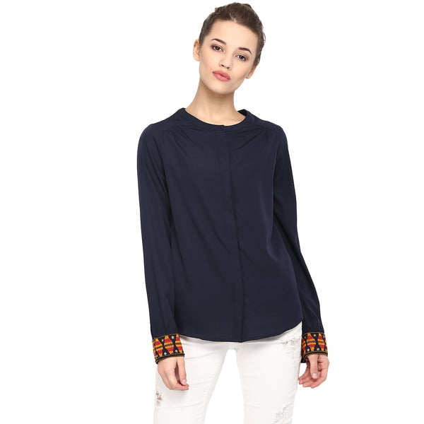 JEWELED CUFF NAVY TOP - Miway Fashion