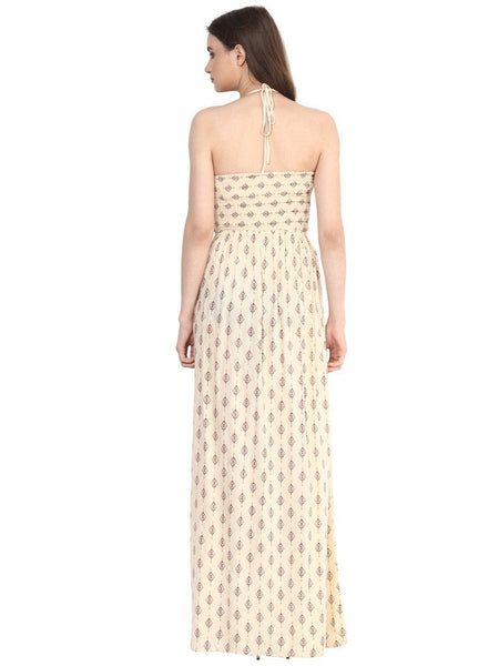 HALTER NECK SMOCKED MAXI DRESS