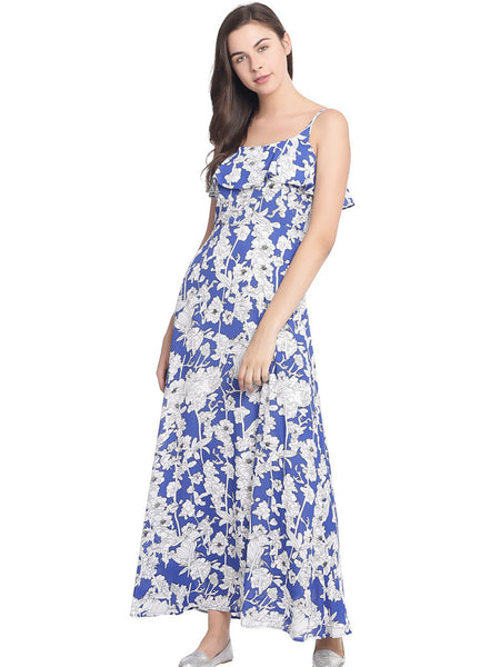 MARINE FLORAL COLD SHOULDER MAI DRESS