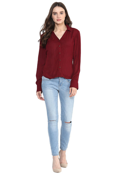 MIWAY Ox Blood Button Down Shirt