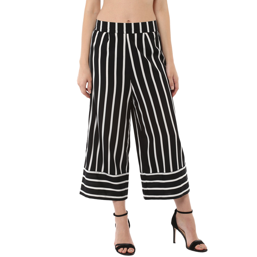 POLYESTER BLACK & WHITE STRIPED CULOTTES - Miway Fashion