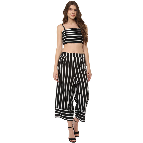 POLYESTER BLACK & WHITE STRIPED CULOTTES