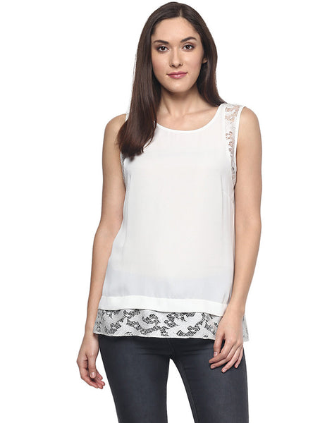 WHITE TOP WITH LACE TRIMS - Miway Fashion