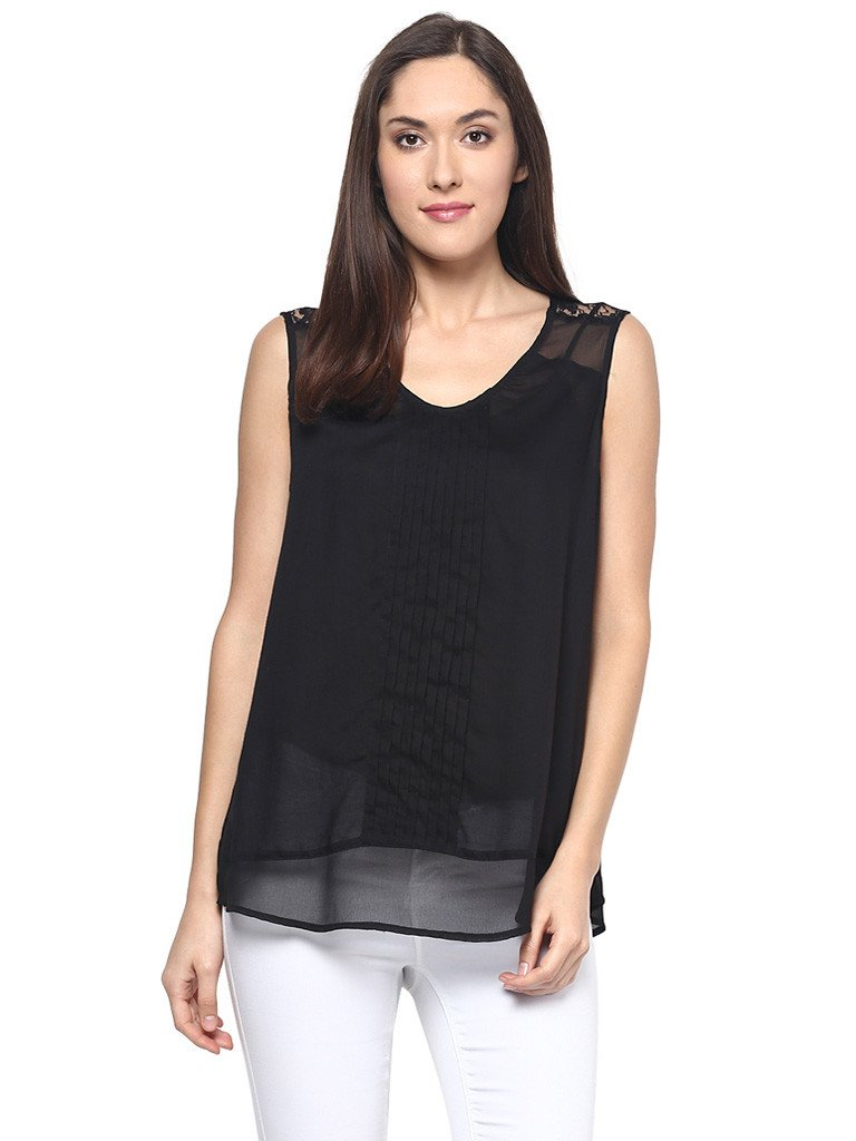 LACE INSERTED CAMISOLE TOP - Miway Fashion