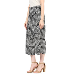 Miway Women Black & White Palm Print Cullots