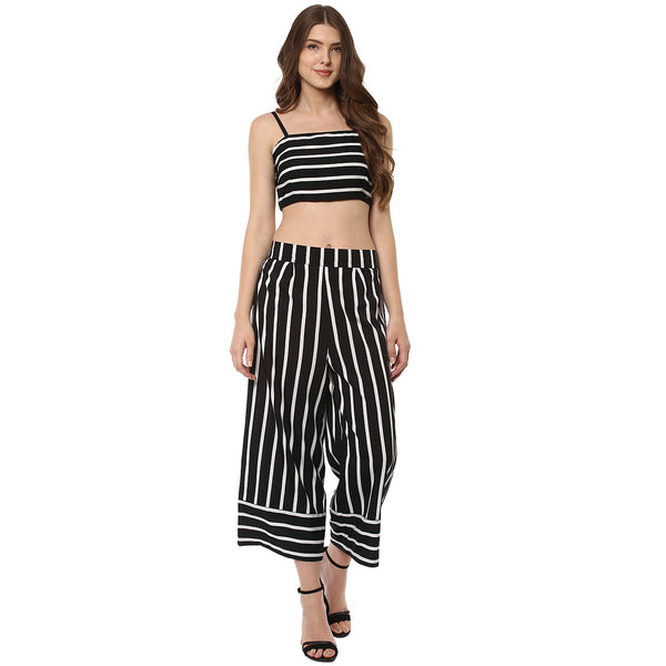 WOMEN'S POLYESTER BLACK & WHITE STRIPED BUSTIER