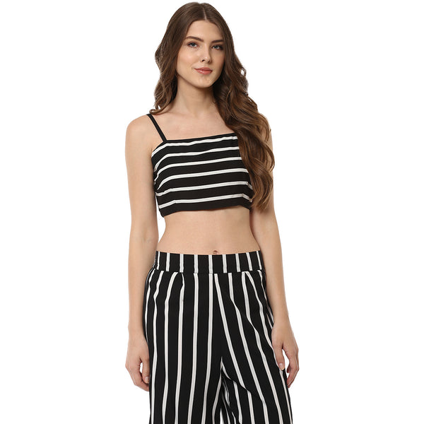 WOMEN'S POLYESTER BLACK & WHITE STRIPED BUSTIER - Miway Fashion