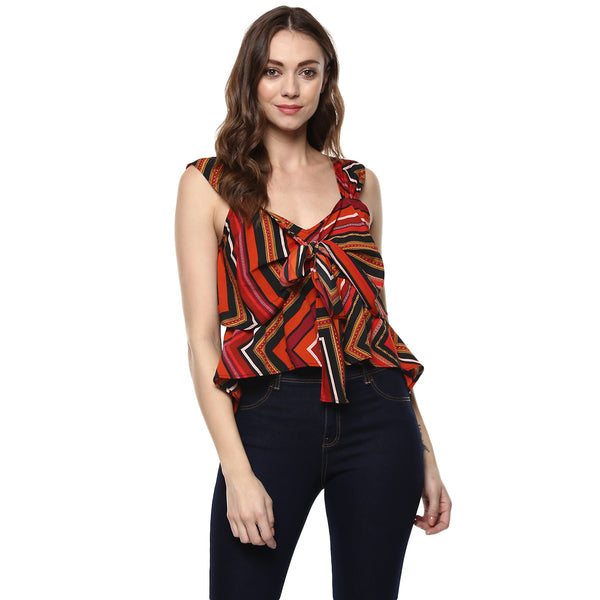 BOW UP FRONT AZTEC CROP CAMISOLE - Miway Fashion