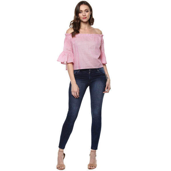 Miway Women's cotton Pink Solid Top
