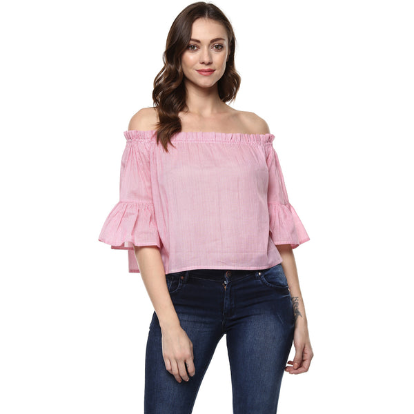 Miway Women's cotton Pink Solid Top - Miway Fashion
