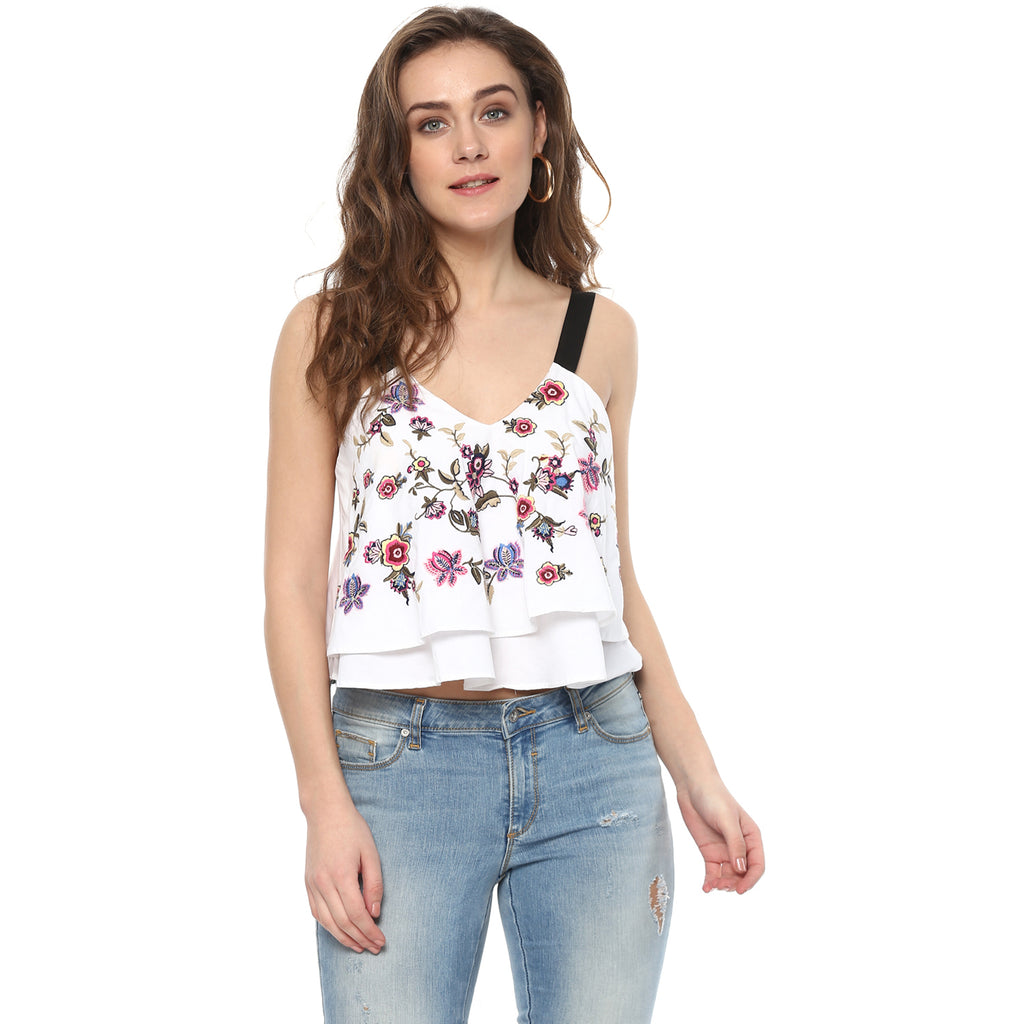 White multicolor embroidered top - Miway Fashion