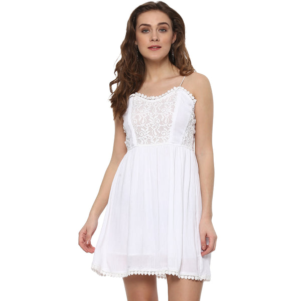 SHORT WHITE LACE DRESS - Miway Fashion
