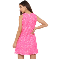 Miway Women's Polyester net Pink Solid Party Wear Dress - Miway Fashion