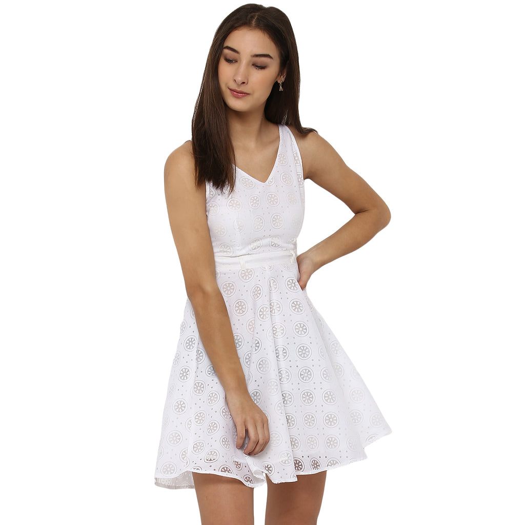 Miway Women's Cotton White Solid Casual Dress - Miway Fashion
