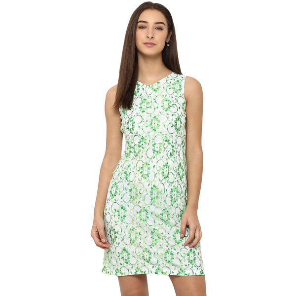 Miway Women's Polyester Net Green Printed Party Wear Dress - Miway Fashion
