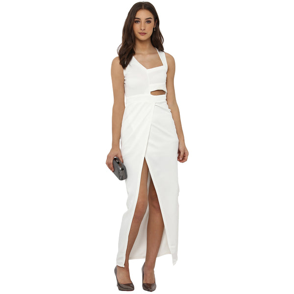 Miway Women's Poly Knit White Solid Party Wear Dress