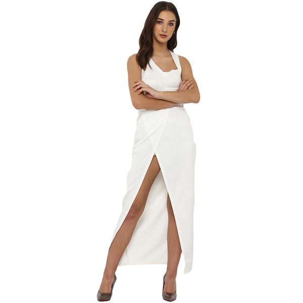 Miway Women's Poly Knit White Solid Party Wear Dress - Miway Fashion
