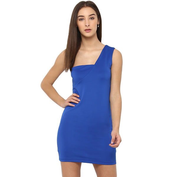 Miway Women's Poly Knit Navy Blue Solid Party Wear Dress - Miway Fashion