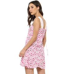 Miway Women's Rayon Pink Printed Casual Dress - Miway Fashion