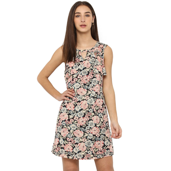 Miway Womens Rayon Crepe Multicolor Printed Casual Dress