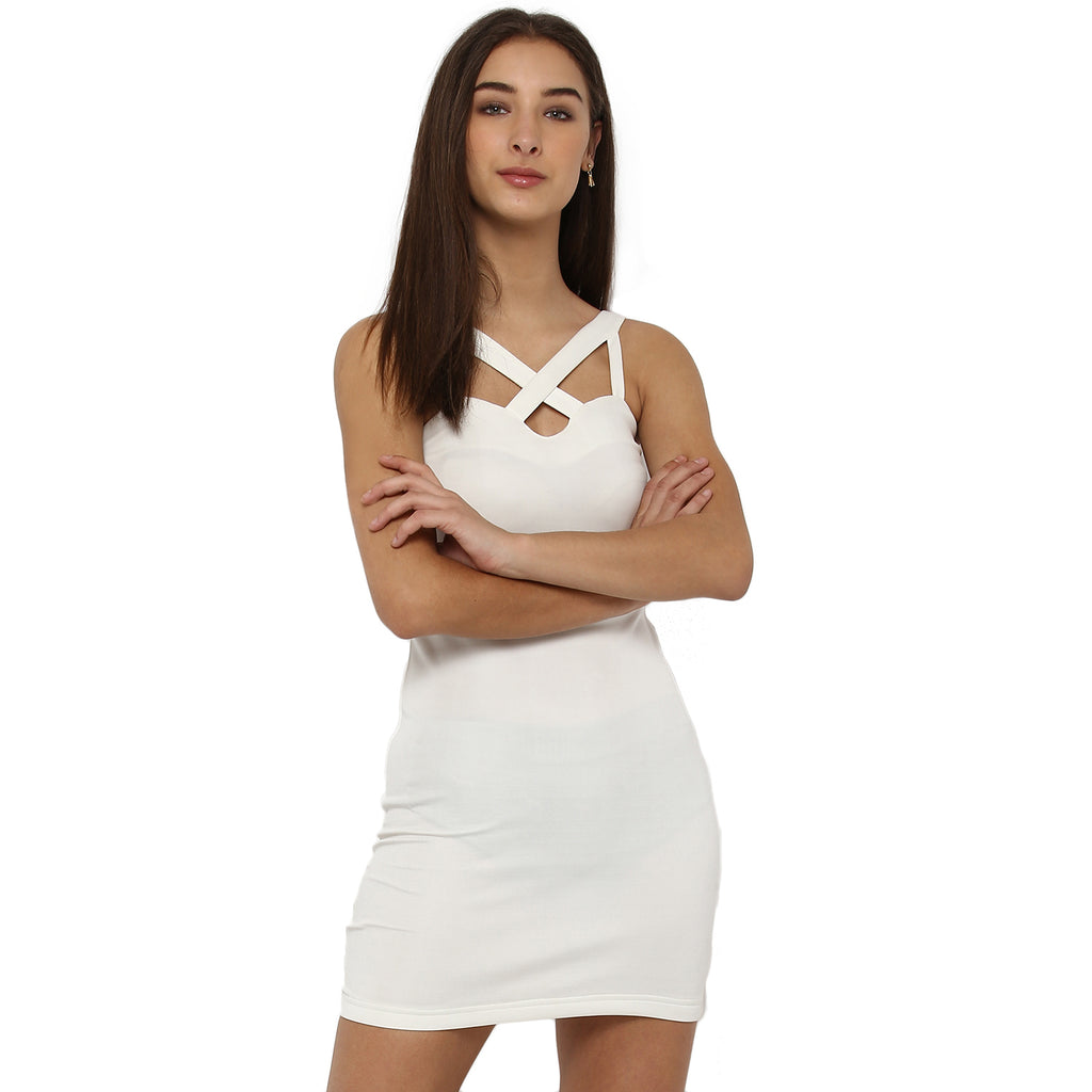 Miway Women's Polyknit White Solid Casual Tunic - Miway Fashion