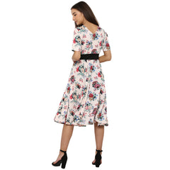 Miway Women's American Crepe Multicolor Printed Casual Dress - Miway Fashion