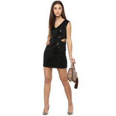 Miway Women's  POLY KNIT Black solid Casual Dress - Miway Fashion
