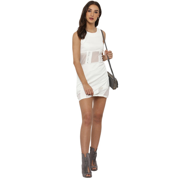 Miway Women's  POLY KNIT White Solid Casual Dress