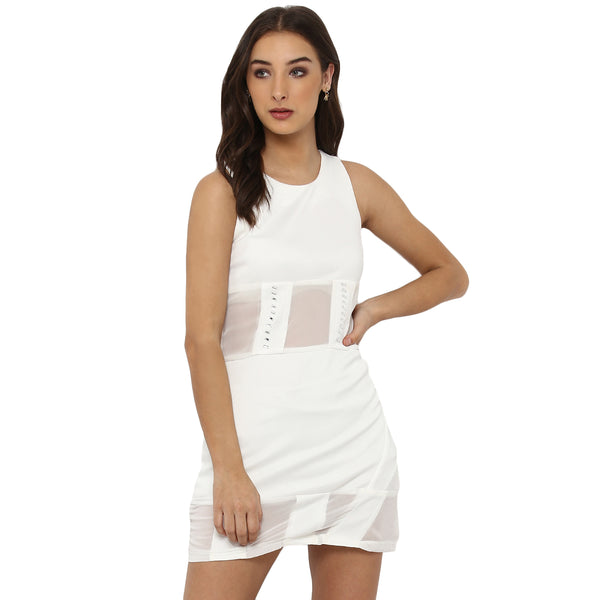 Miway Women's  POLY KNIT White Solid Casual Dress - Miway Fashion