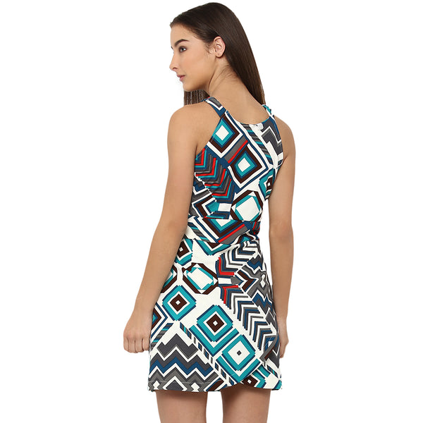 Miway Women's Polyknit Multicolor Printed Casual Dress