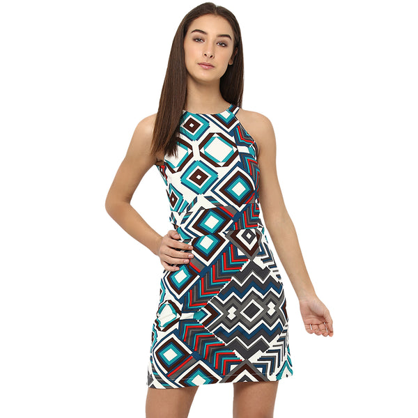Miway Women's Polyknit Multicolor Printed Casual Dress - Miway Fashion