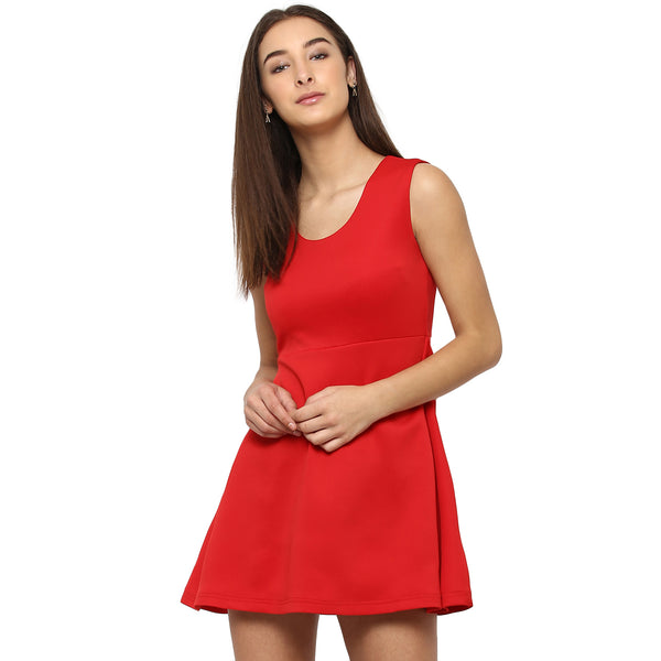 Miway Women's Polyknit Red Solid Casual Dress - Miway Fashion