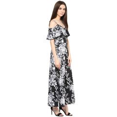 COLD CUT SHOULDER BLACK FLORAL DRESS - Miway Fashion