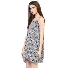 Miway Women Black & White Aztec Print Dress