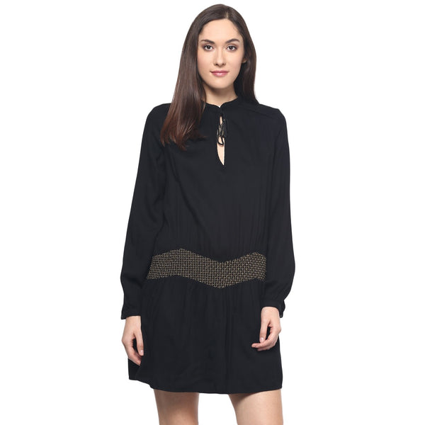 BLACK EMBELLISHED HIPSTER DRESS - Miway Fashion