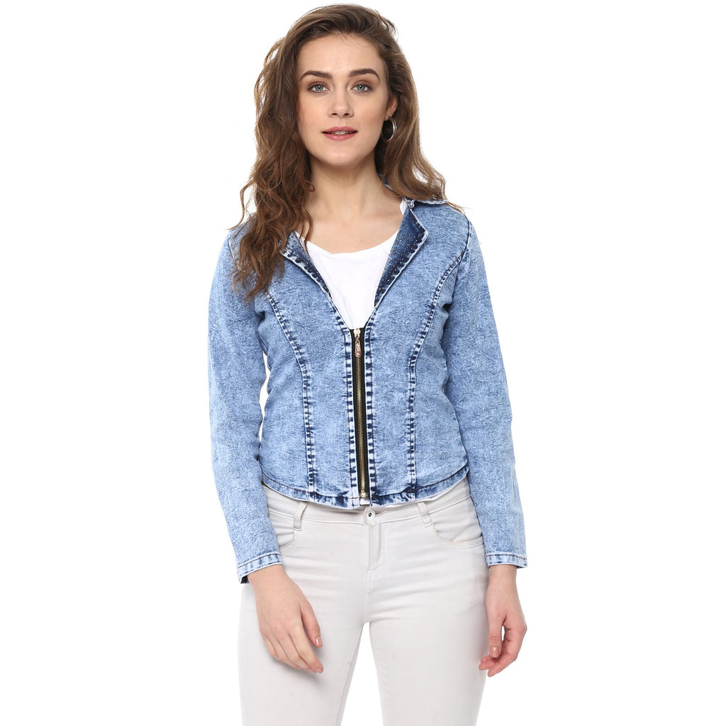 DENIM CROP JACKET STRETCHABLE - Miway Fashion