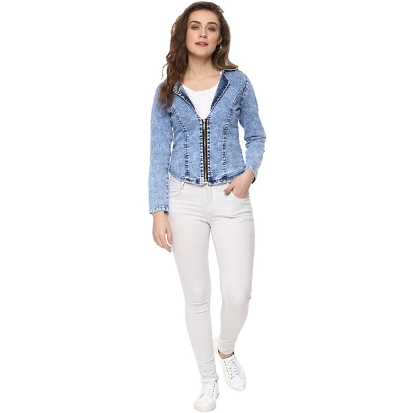 Denim Crop Jacket  stretchable