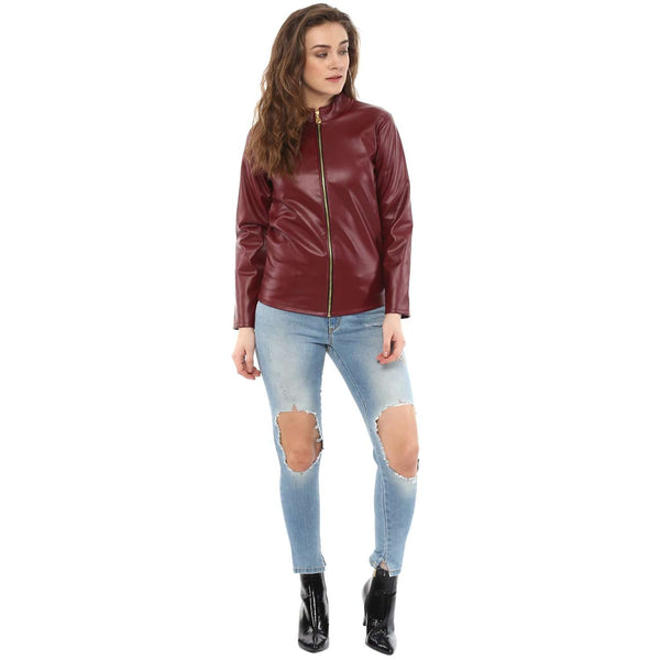 BASIC LEATHERITE MAROON JACKET