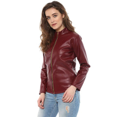 BASIC LEATHERITE MAROON JACKET - Miway Fashion