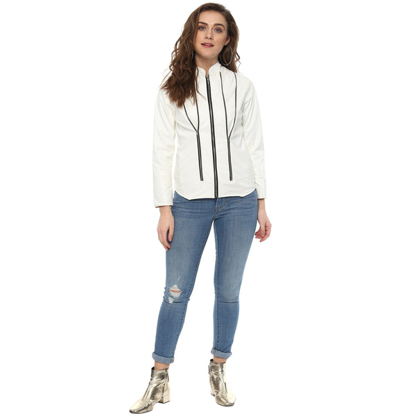 ZIP TO SNUG WHITE LEATHERITE JACKET