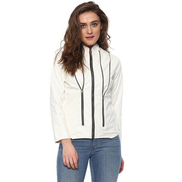 ZIP TO SNUG WHITE LEATHERITE JACKET - Miway Fashion