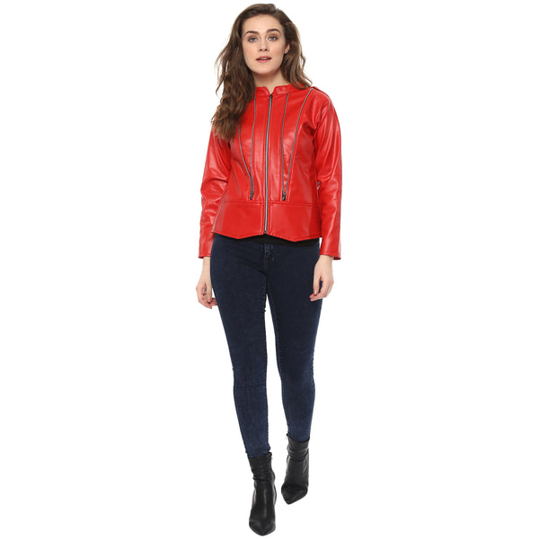 ZIPPED UP RED BOMBER LEATHERITE JACKET