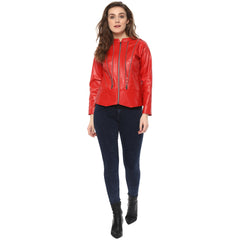 ZIPPED UP RED BOMBER LEATHERITE JACKET - Miway Fashion