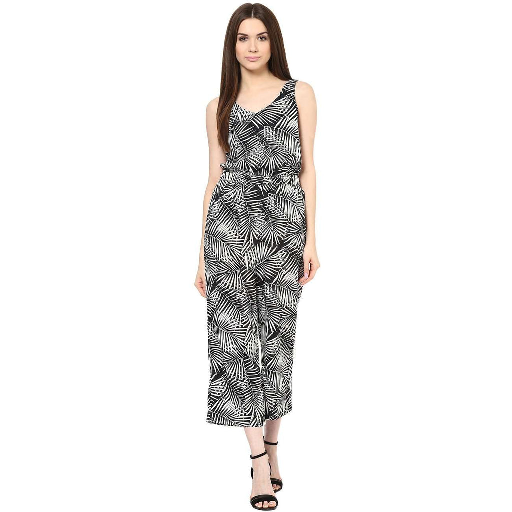 BLACK & WHITE PALM PRINT ROMPER - Miway Fashion