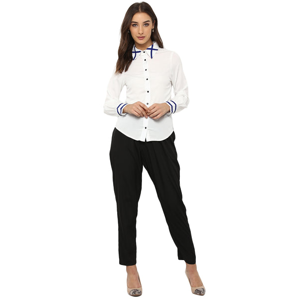 Miway Women's American Crepe White Solid Casual Shirt