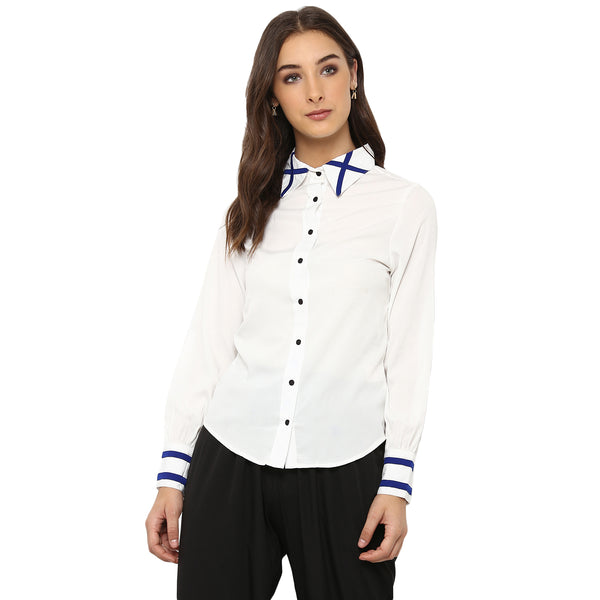 Miway Women's American Crepe White Solid Casual Shirt - Miway Fashion