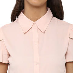 Miway Women's American Crepe Peach Solid Casual Shirt - Miway Fashion